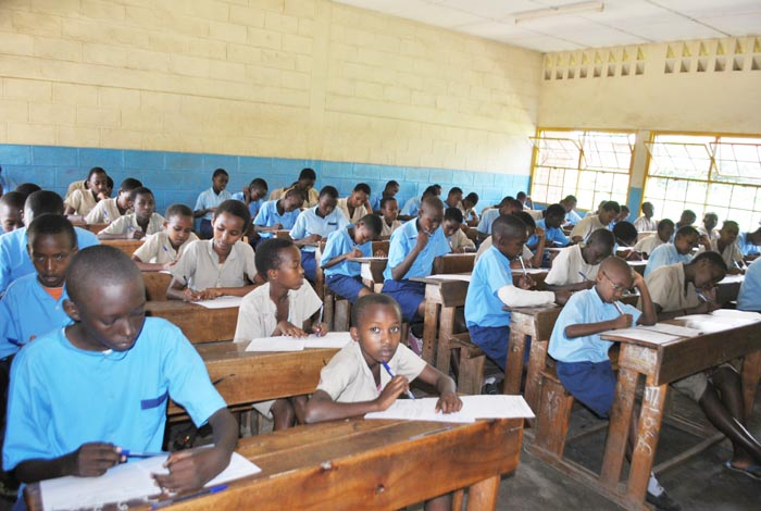 Students doing the national test