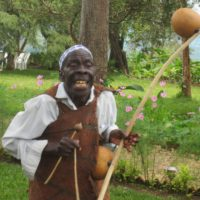 "Mathias Mujuriro with his ""Umuduri"" (a traditional musical instrument)"