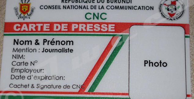 A sample of the national press card
