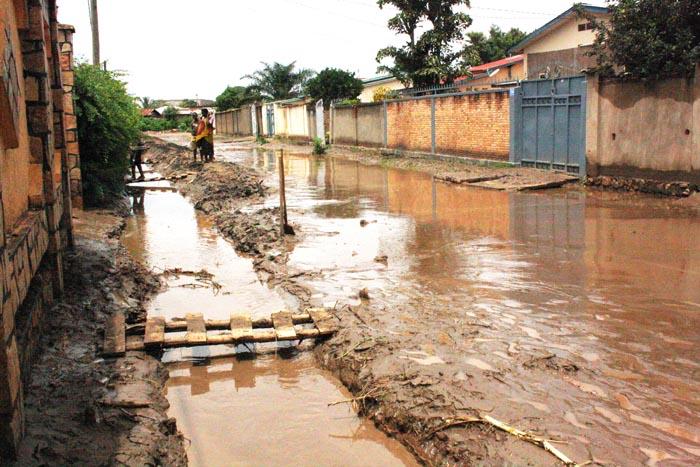 La rue la plus inondée à Ngagara, Quartier 8