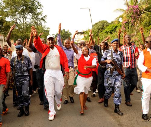 La marche était menée par le député Charles Nditije, le président de l'Uprona non reconnu par le pouvoir ©Iwacu