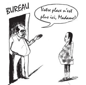 Caricature femme enceinte au travail