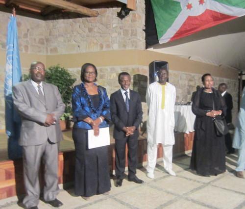 Mme Rosine Sori-Coulibaly, au milieu des ambassadeurs Zacharie Gahutu et Parfait Onanga Anyanga ©Iwacu