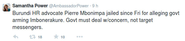 Samantha Power, on Pierre Claver Mbonimpa case