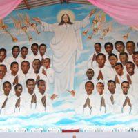Au dessus de l'autel dans la chapelle, un artiste a dessiné les visages des 40 séminaristes … ©Iwacu