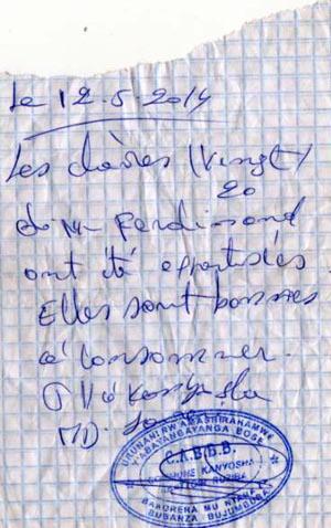 Exemplaire d'un bout de papier qui atteste que 20 chèvres ont été contrôlées à Ruziba et sont bonnes à la consommation ©Iwacu