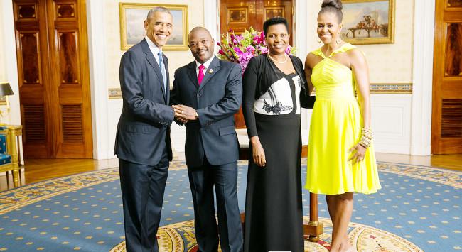 Les couples présidentiels américains et burundais, à la Maison Blanche ©Iwacu