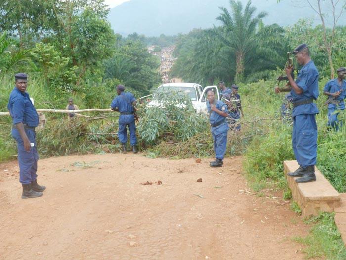 La route Buheka-Vugizo était barrée par la population à l'aide des troncs d'arbre ©Iwacu