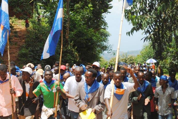 Les membres du parti MSD manifestant leur soutien aux élections libres, apaisées et transparentes ©Iwacu
