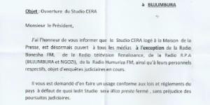 Dans une autre correspondance du 17 juin 2015, Valentin Bagorikunda, s'adressant cette fois-ci au président de l'ABR, a repris le contenu de sa première correspondance en oubliant d'inclure la radio Isanganiro parmi celles interdites d'accès au studio CERA de l'ABR.