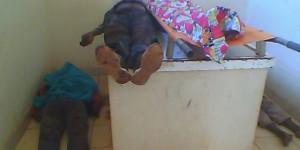 Les corps sans vie des victimes de la grenade à la morgue de l'hôpital de Ngozi