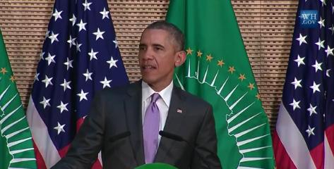 Le président Américain Barack Obama lors de son  discours à Addis-Abeba
