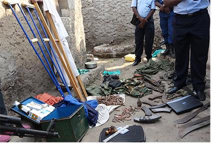 Les armes saisies à Mutakura