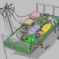 Hôpital Cibitoke : cinq enfants se partagent un lit