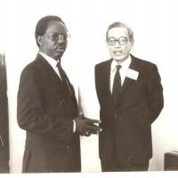 Entretien avec Boutros Boutros Ghali, ministre égyptien des Affaires étrangères, à Addis lors du Sommet des Chefs d'Etat et de gouvernement de 1990.
