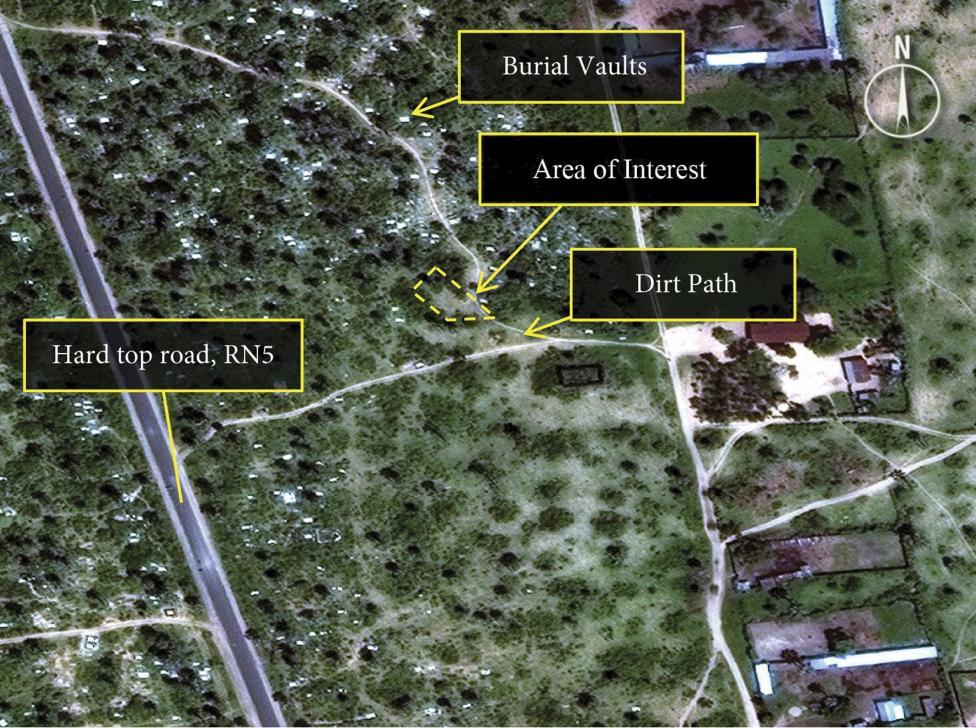 Image satellite (montrant la région de Buringa) dévoilée par Amnesty International comme preuves d'existence de charniers
