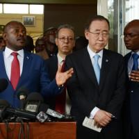 Le président s'exprimait en kirundi, le ministre des Affaires étrangères, Alain Aimé Nyamitwe, jouant les interprètes pour le SGNU.