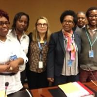 Mmes Fyiroko et Ngabire avec Colette Samoya et ses co-organisateurs du Side event du 15 mars