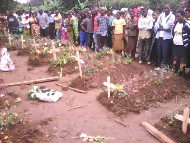 Les victimes ont été enterrées dans le domaine paroissial de Kiguhu, hormis une sœur transportée vers le Rwanda.