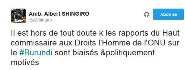 Le tweet d'Albert Shingiro