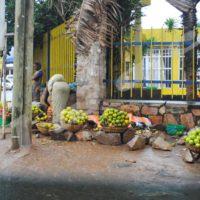 Des vendeuses étalent leurs produits au centre-ville.