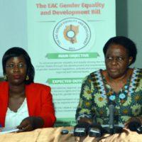 De gauche à droite, la coordinatrice de l'EASSI et celle de la Cafob, animant la conférence de presse
