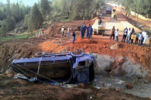 Le camion qui s'est renversé.