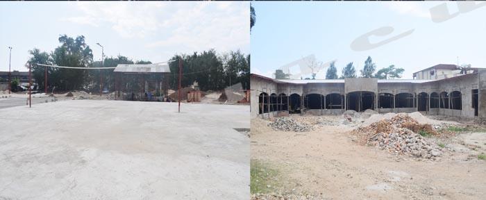 Toujours en constructions, la salle de cérémonies et les deux terrains sportifs à Kumugumya.