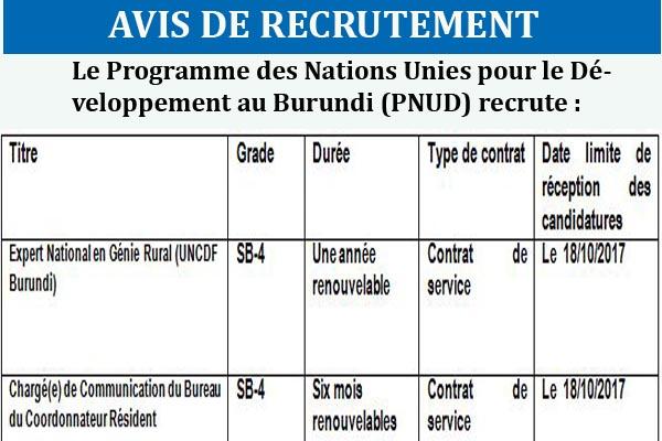 http://www.iwacu-burundi.org/wp-content/uploads/2017/10/PNUD-10OCTUne-Experte-Nationale-en-Génie-Rural-et-Une-Chargée-de-Communication-RCO-1.pdf