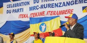 Epitace Bayaganakandi, président du parti MRC Rurenzangemero lors de son discours devant ses militants ce 23 novembre ©Iwacu