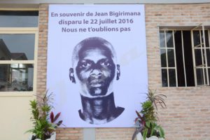 "Photography of Jean Bigirimana hung on the wall of Iwacu building: ""In memory of Jean Bigirimana who disappeared on 22 July 2016. We will never forget you."""