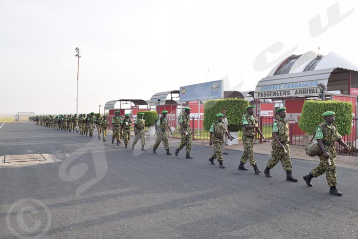 Soldiers of the 45th battalion at Bujumbura International Airport before flying to Somalia