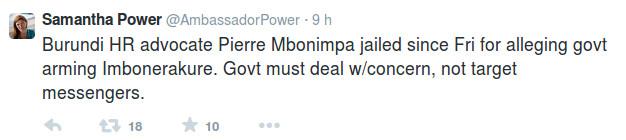 Samantha Power, on Pierre Claver Mbonimpa case