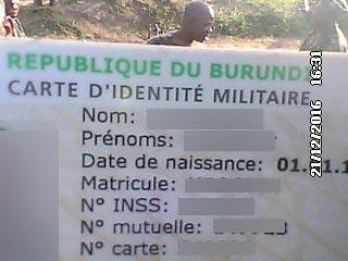 La carte d'identification d'un des militaires tués.