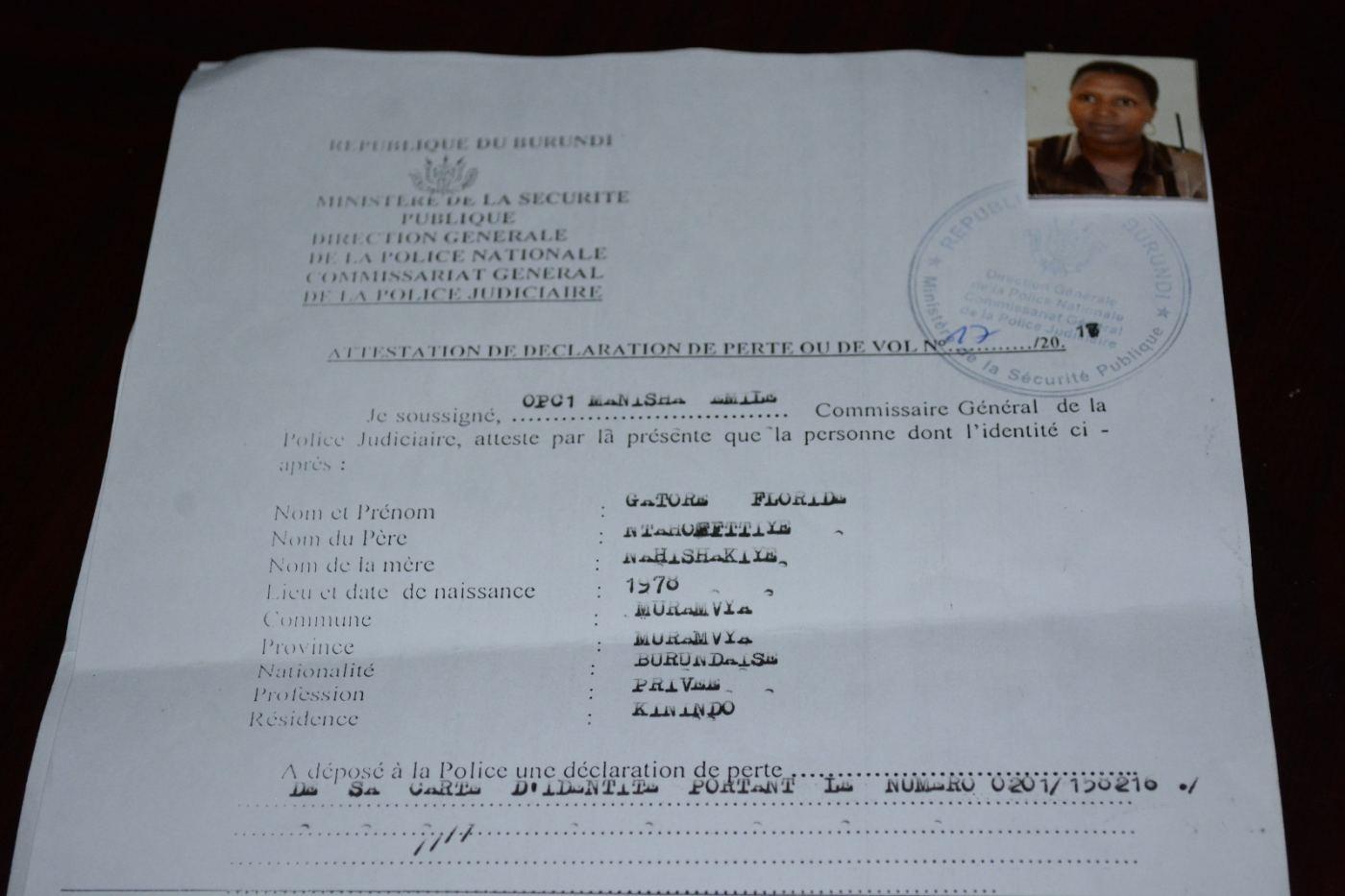 La déclaration de perte des documents de Mme Gatore.
