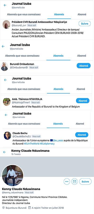 Le compte Twitter du journaliste est suivi par quelques personnalités